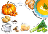 Colorful and juicy pumpkin cream soup recipe illustration. Drawing alcohol markers of autumn vegetables and culinary ingredients with a clear center for text. Healthy food. - 232997360