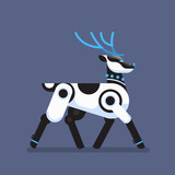 robot reindeer artificial intelligence concept deer cartoon animal flat vector illustration - 232999974