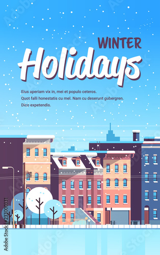 city building houses winter street cityscape background merry christmas happy new year concept flat vertical flat vector illustration - 233000331