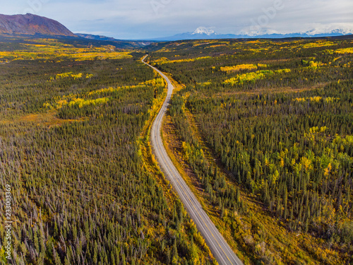 地平に続く一本の道 One road of Alaska