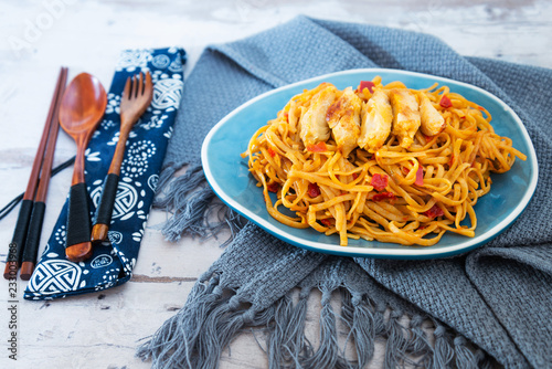 Foto Murales Asian Noodles with Chicken and Black Mushrooms,Coriander