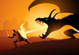 Knight fighting a dragon - 233009718