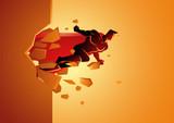 Superhero break through concrete wall - 233009738