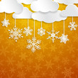 Christmas illustration with white clouds and snowflakes hanging on yellow background