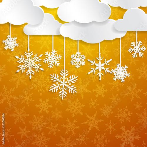 Bożenarodzeniowa ilustracja z biel chmurami i płatek śniegu wiesza na żółtym tle