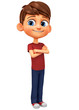 Character cheerful boy in a red T-shirt. 3d rendering. Illustration for advertising.