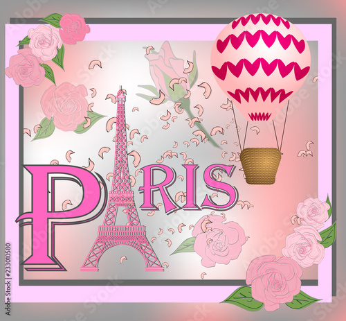 Romantic background with Eiffel tower, illustration