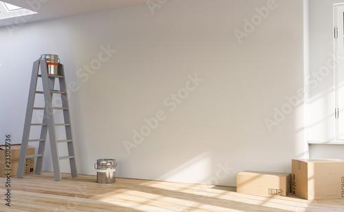 3D Illustration leerer Raum Wohnung Renovierung