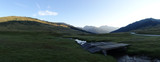 Panoramic of a river in Baqueira, Aran Valley