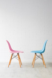 pair of chairs in pink and blue, equality concept - 233021130