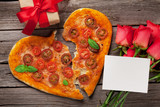 Heart shaped pizza with tomatoes and mozzarella - 233023316
