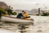 Romantic couple in love on a boat date - 233023792