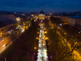 overhead view of european city in night time. people walk by fair in evening - 233024195