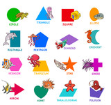 geometric shapes with sea animal characters set - 233026999