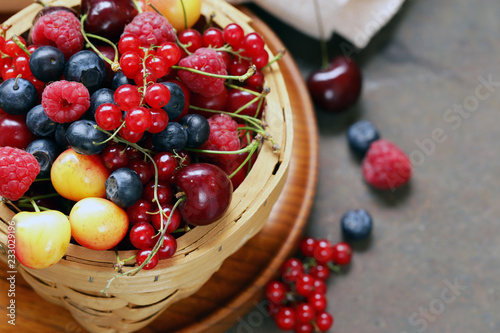 ripe organic mix berries rustic still life - 233029196