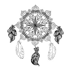 Vector dreams catcher and feathers. Mandala. Boho style.