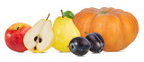 Collage of fresh autumn fruits and vegetable isolated on white background with clipping path