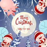 Merry Christmas lettering on circle with pig and snowmen. Christmas greeting card. Handwritten text, calligraphy. For leaflets, brochures, invitations, posters or banners. - 233040735