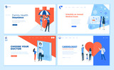 Web page design templates collection of health insurance, medical exam, doctor's choice, cardiology. Modern vector illustration concepts for website and mobile website development.  - 233043774