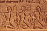 Detail of rock drawings of Syrian war prisoners at Abu Simbel Temple, Aswan province, Egypt, Nubia