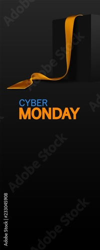 Cyber Monday banner. Realistic black box with golden ribbon isolated on dark background. Vector