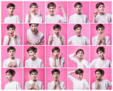 Different emotions collage. Set of young emotional woman over pink background. Female different emotions. Facial expressions concept. Trendy color. Female portraits of caucasian model at studio - 233046769