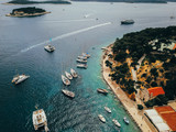 Aerial view photo of picturesque port with sailboats and yachts - 233050328