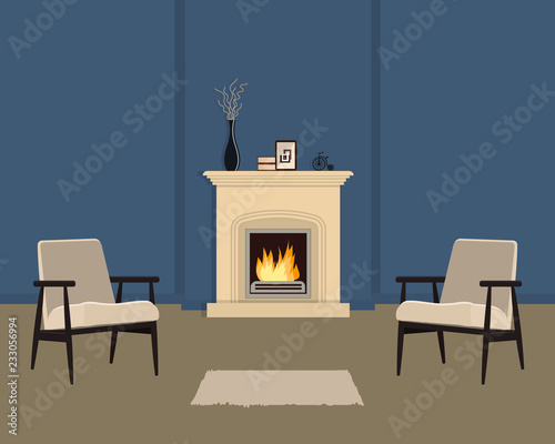 Blue living room with fireplace. The room also has two beige armchairs, a vase with decorative branches and home decor items. Vector illustration.