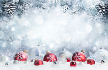 "Постер, картина, фотообои ""Merry Christmas - Baubles On Snow With Fir Branches """