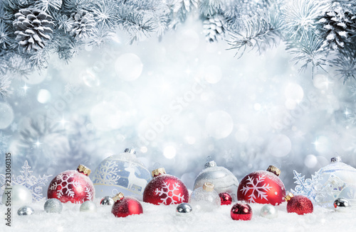 Merry Christmas - Baubles On Snow With Fir Branches