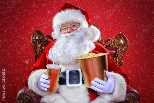 santa claus is watching a movie