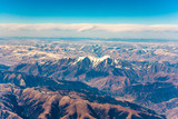 view from the aircraft to the mountains of the Himalaya on Chinese Tibetan side snow - 233064126