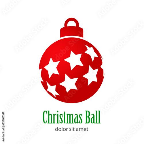 Logotipo con texto Christmas Ball con estrellas diagonal perspectiva en bola de color rojo