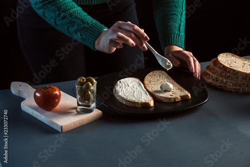Wall mural Sandwich with mortadela and tomato and olives