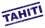 TAHITI seal print with grunge style. Blue vector rubber print of TAHITI caption with dust texture. Text caption is placed between parallel lines. - 233076996