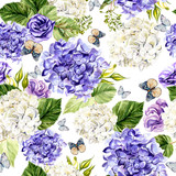 Watercolor pattern with Hudrangea and eustoma flowers. Hand painting. Watercolor. Seamless pattern for fabric, paper and other printing and web projects. - 233091316