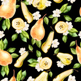Watercolor Pattern with pears and flowers.  - 233091721