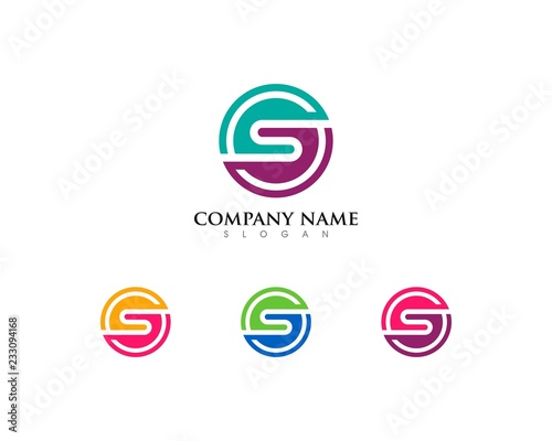 business circle letter s logo template