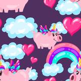 Seamless cute pig unicorn pattern with rainbow and hearts on dark sky. Baby print. cartoon hand drawn caracter.