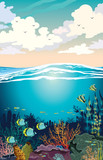 Underwater sea - coral reef, fish and sky.