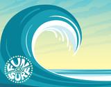 Surfing logo, wave, sky, ocean. - 233097773