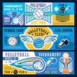 Volleyball sport tournament, vector banners