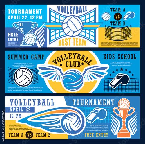 Volleyball sport tournament, vector banners