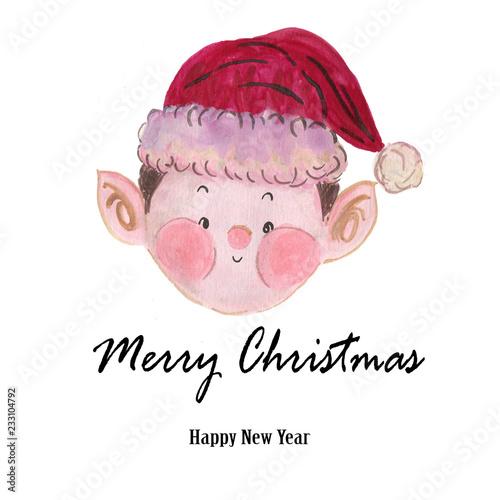 8025d23c87da4 Watercolor Santa Claus red hat elfr Hand painted