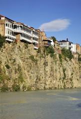 Kura river in Metekhi. Tbilisi. Georgia