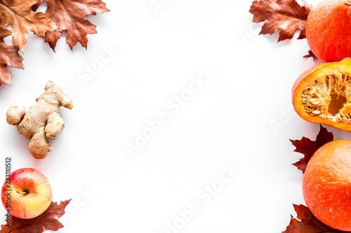 Kompozycja z jesiennych warzyw i liści w kolorach czerwonym i pomarańczowym. Brown suszący liście, bania, jabłko na białej tła odgórnego widoku przestrzeni dla teksta