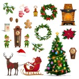 Christmas winter holidays icons with Santa gifts - 233114188