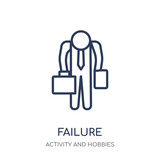 Failure icon. Failure linear symbol design from Activity and Hobbies collection. - 233115322