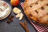 Beautiful Lattice Topped Apple and Caramel Pie - 233115565