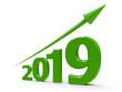 Leinwandbild Motiv Green arrow up with 2019